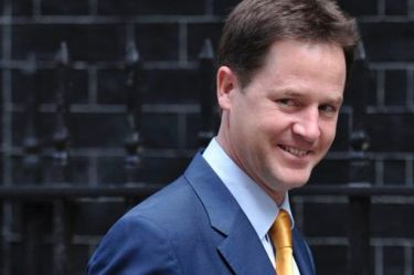 14949288_British Deputy Prime Minister Nick Clegg arrives to attend the weekly cabinet meeting at 10